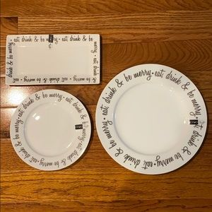 Eat, Drink & Be Merry Plate Set of 3